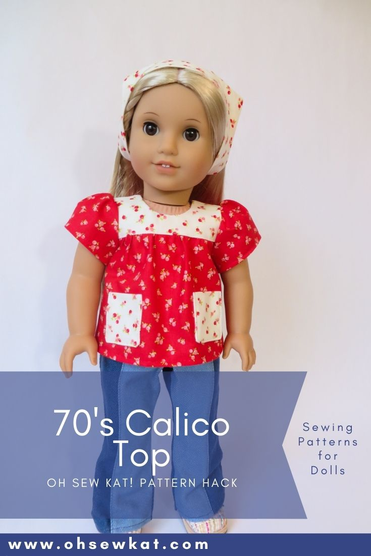 Make a 70s inspired calico top for your 18 inch Julie American Girl doll with this easy pattern hack from Oh Sew Kat! Bloomer Buddies PDF Sewing pattern. Find more doll clothes patterns at Oh Sew Kat.