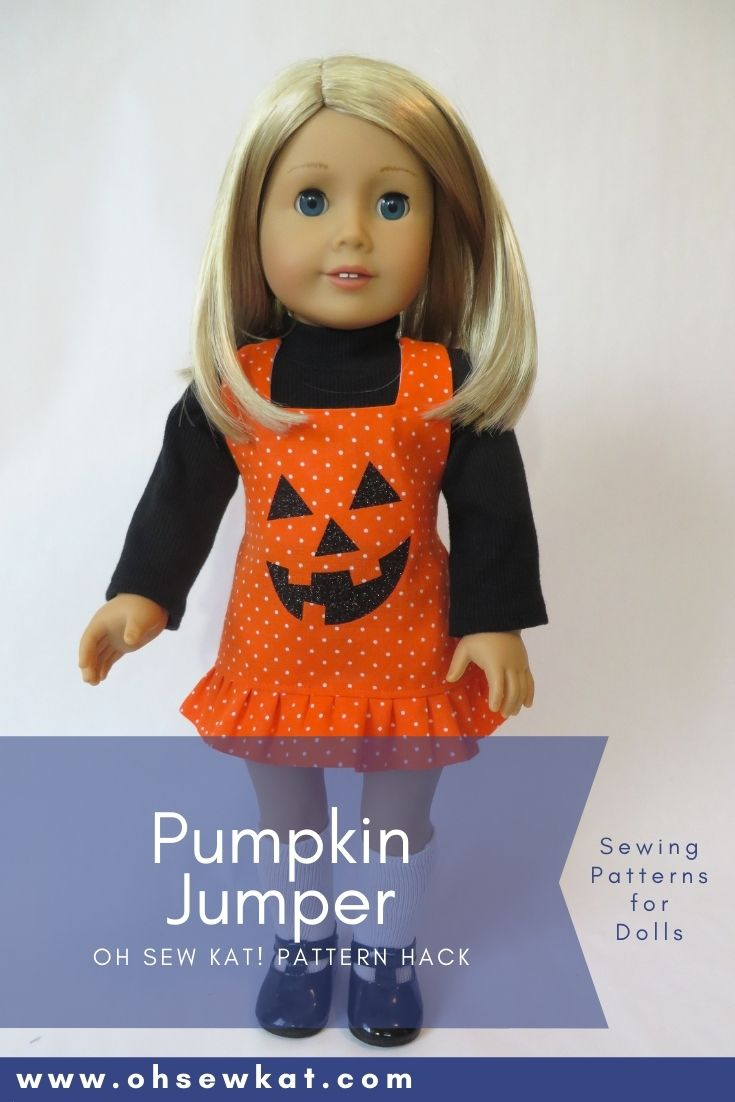 Use the Boardwalk Boutique PDF Sewing pattern to make your 18 inch doll a cute, pumpkin jumper. Find more American Girl doll sewing patterns from Oh Sew Kat!