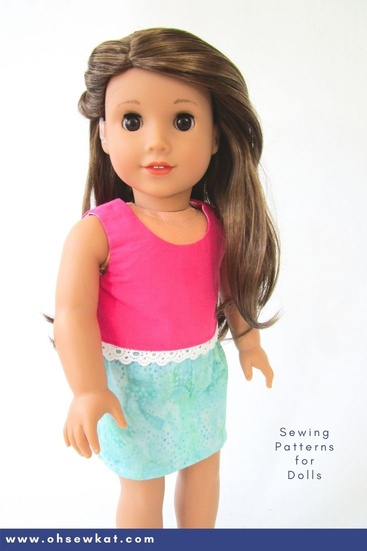 Make your 18 inch doll a mini skirt with this free and easy sewing tutorial from OhSewKat