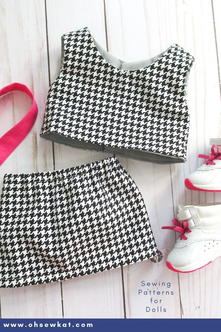 Make a mix and match 80s outfit from houndstooth fabric for your Courtney American Girl Doll. More patterns available from Oh Sew Kat!
