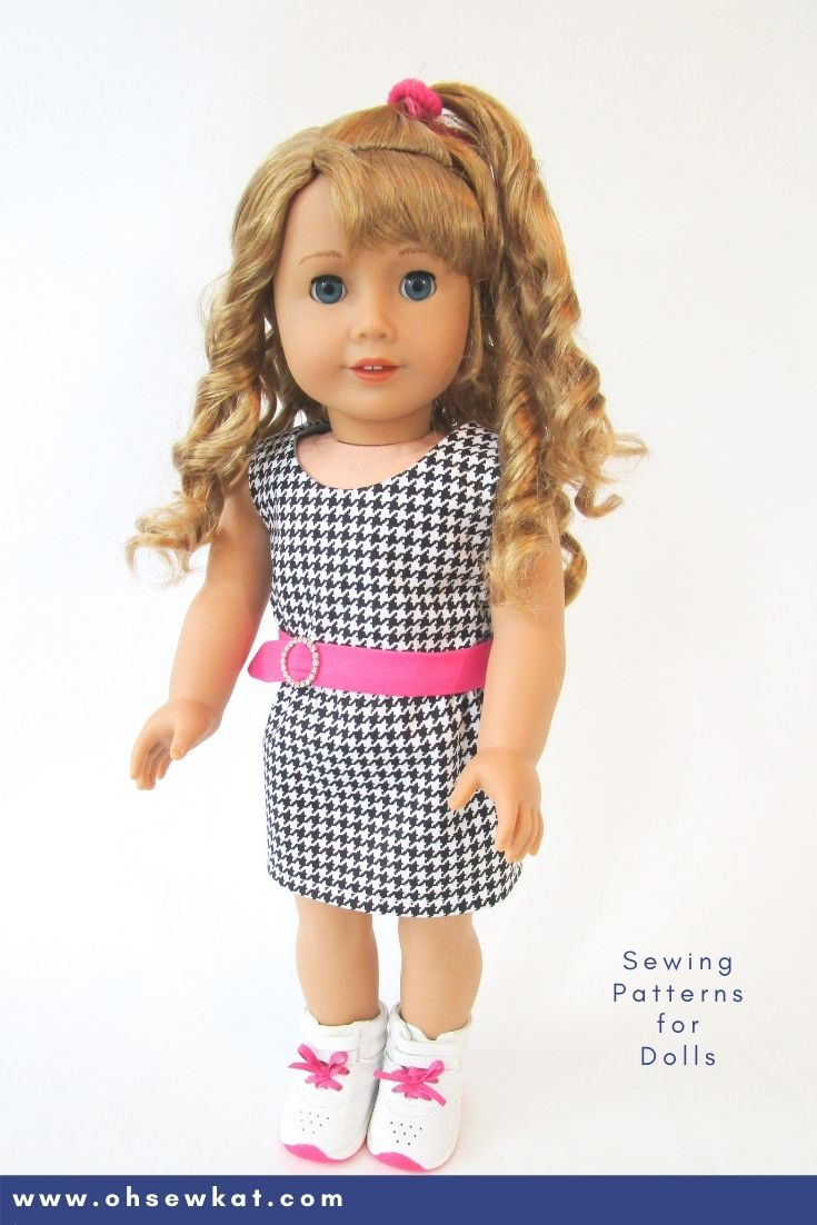 Easy to make houndstooth skirt and top outfit for American Girl Doll Courtney by Oh Sew Kat!