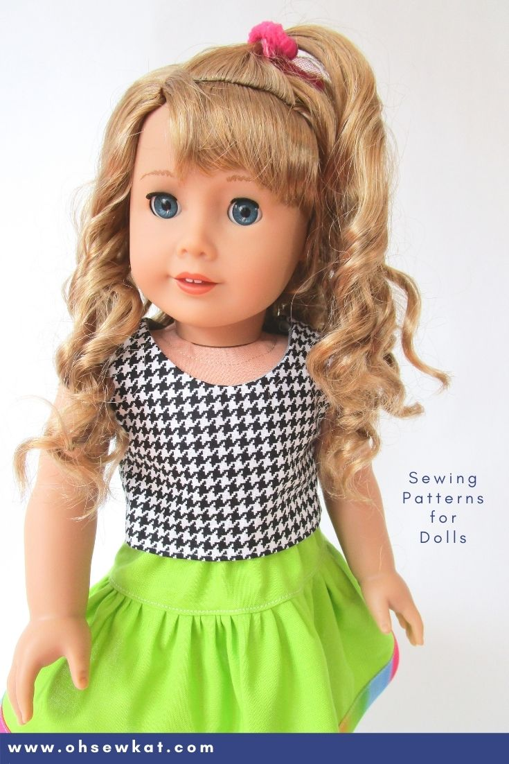 Courtney's 80s fashions- neon green and houndstooth. DIY your own 18 inch American Girl doll clothes with easy to sew PDF sewing patterns from ohsewkat.