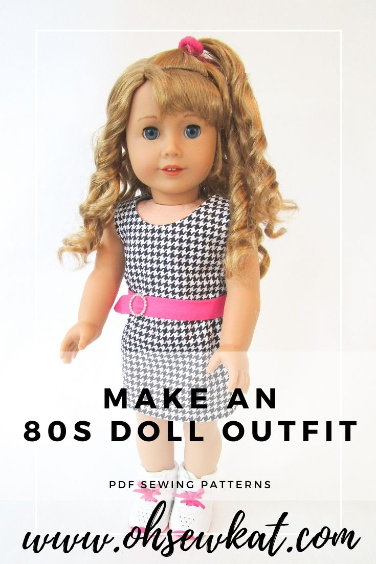 Create mix and match outfits with hot pink and houndstooth with easy sewing patterns for 18 inch dolls by Oh Sew Kat!