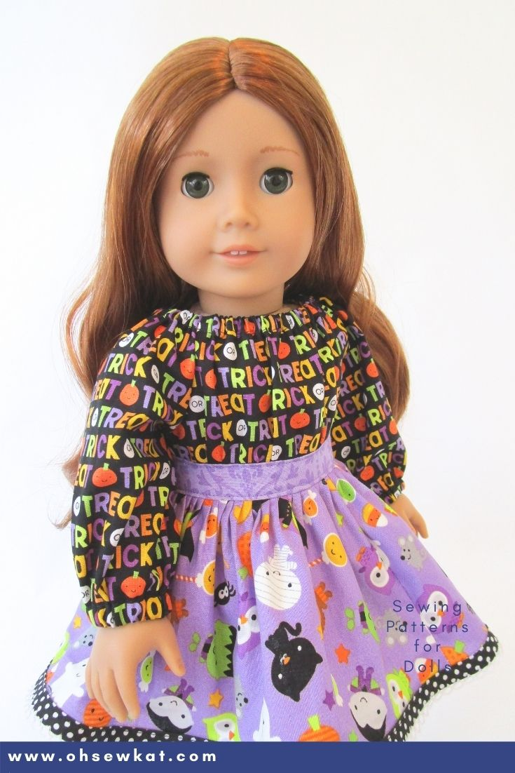 Make an easy doll dress for your American Girl doll with the step by step PDF Sewing patterns from Oh Sew Kat! Patterns fit 18 inch American Girl and Our Generation Dolls, as well as Disney ILY dolls.