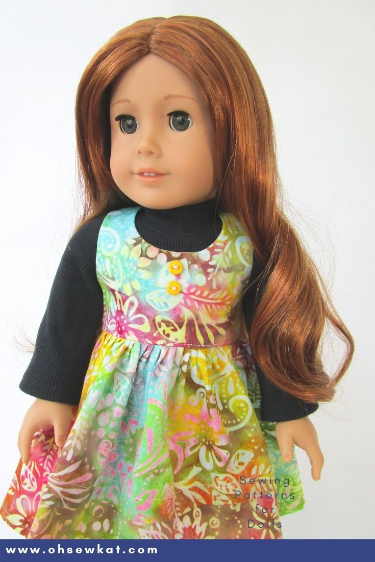 Create a one of a kind layered jumper for your 18 inch doll from American Girl.  Find a full selection of easy to sew beginner level patterns at oh sew Kat.