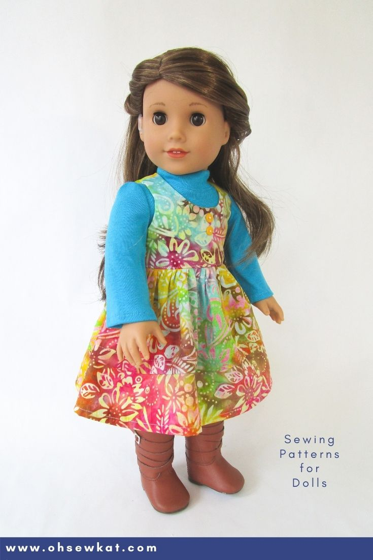 Make this lovely layered look for fall with PDF sewing patterns for American Girl 18 inch and other sized dolls.  Create your own DIY doll clothes with tutorials and patterns from Oh Sew Kat!