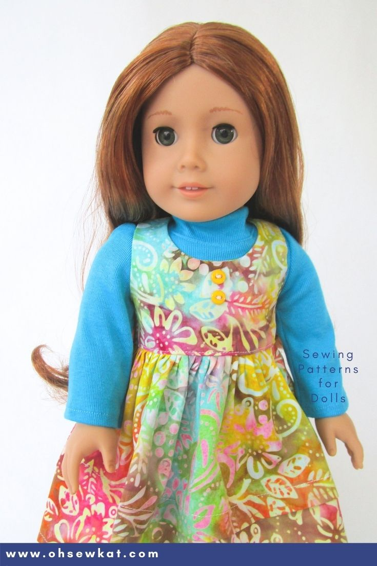 Classic jumper for your doll!! Easy to make 18 inch doll clothes with print at home PDF sewing patterns from Oh Sew Kat!