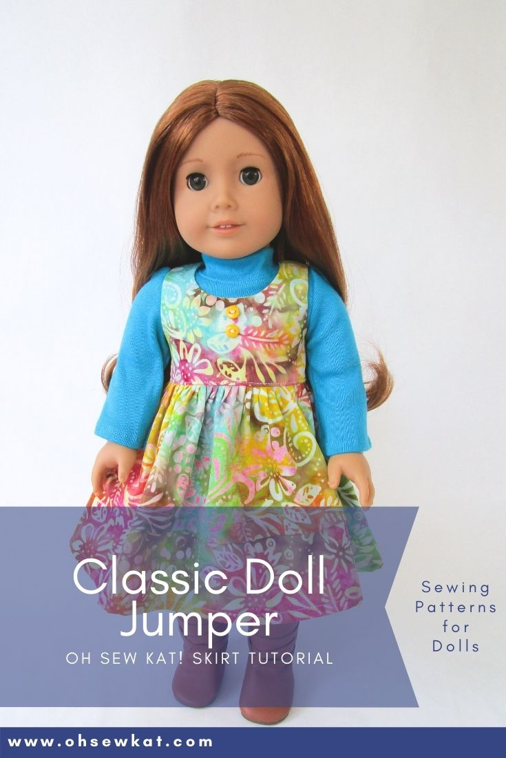 Use the Sugar n Spice PDF sewing pattern to make a classic fall jumper for your 18 inch dolls. Many other styles also available.