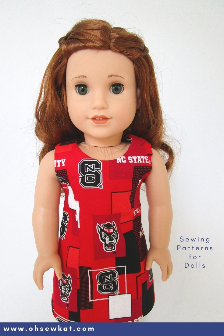 Use easy to sew Oh Sew Kat! patterns to make fun team spirit and game day clothes for 18 inch and other sized dolls like American Girl.
