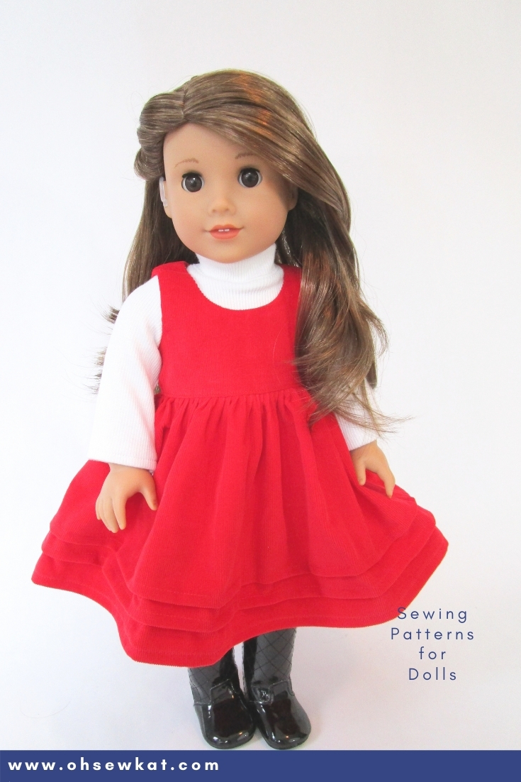 Make your 18 inch American Girl doll a holiday jumper with this easy tweak to the Sugar n Spice PDF Sewing pattern for dolls by Oh Sew Kat!